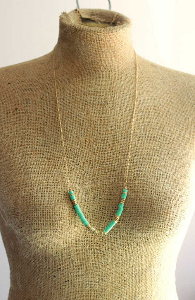 african beaded necklace mint green