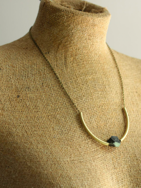 black brass tube necklace