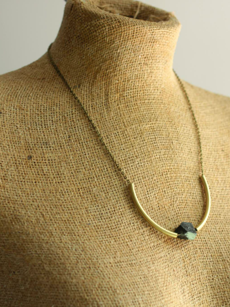 black brass tube necklace