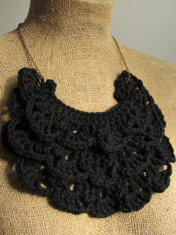 black crochet bib necklace