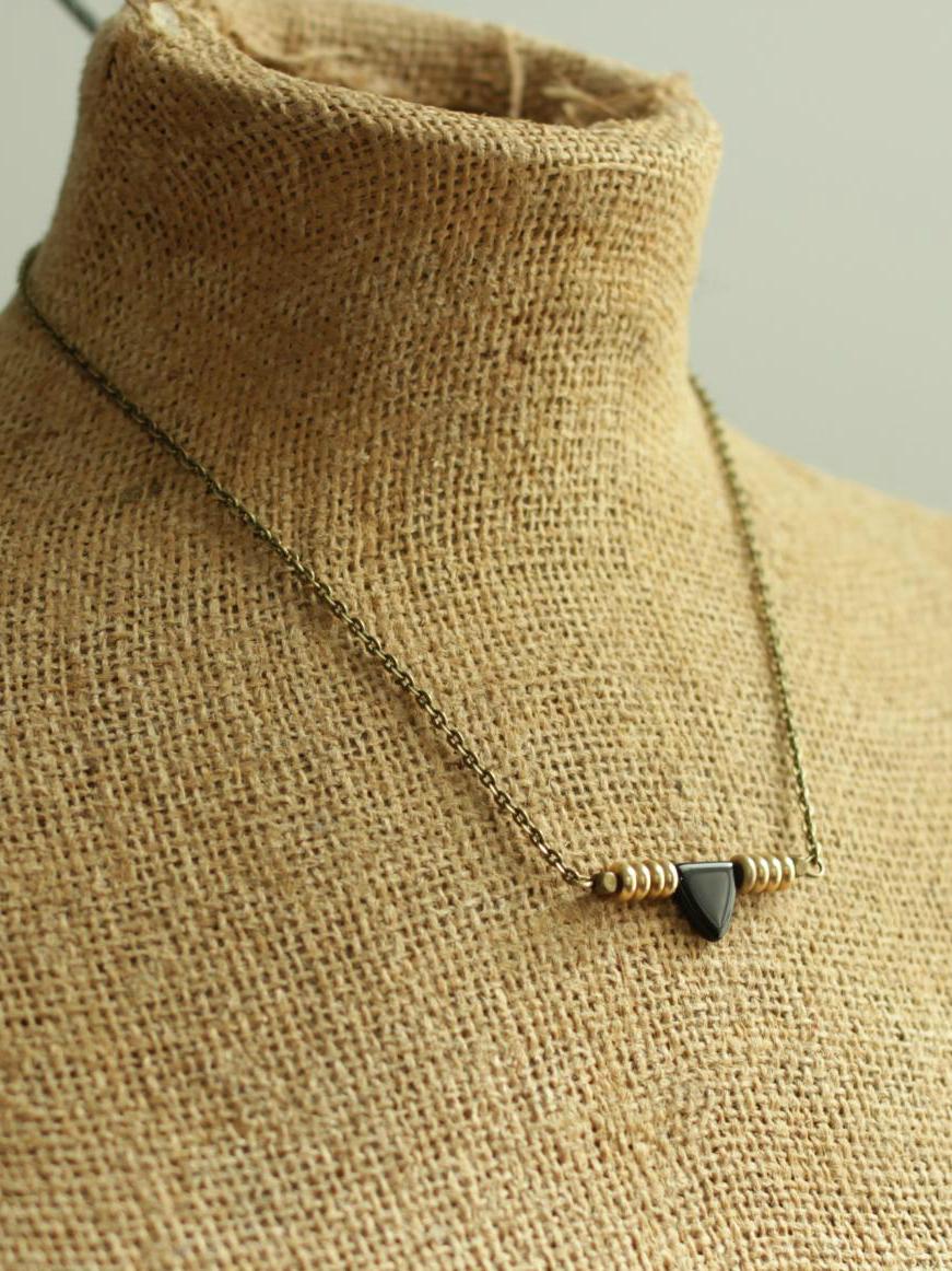 brass heishi necklace
