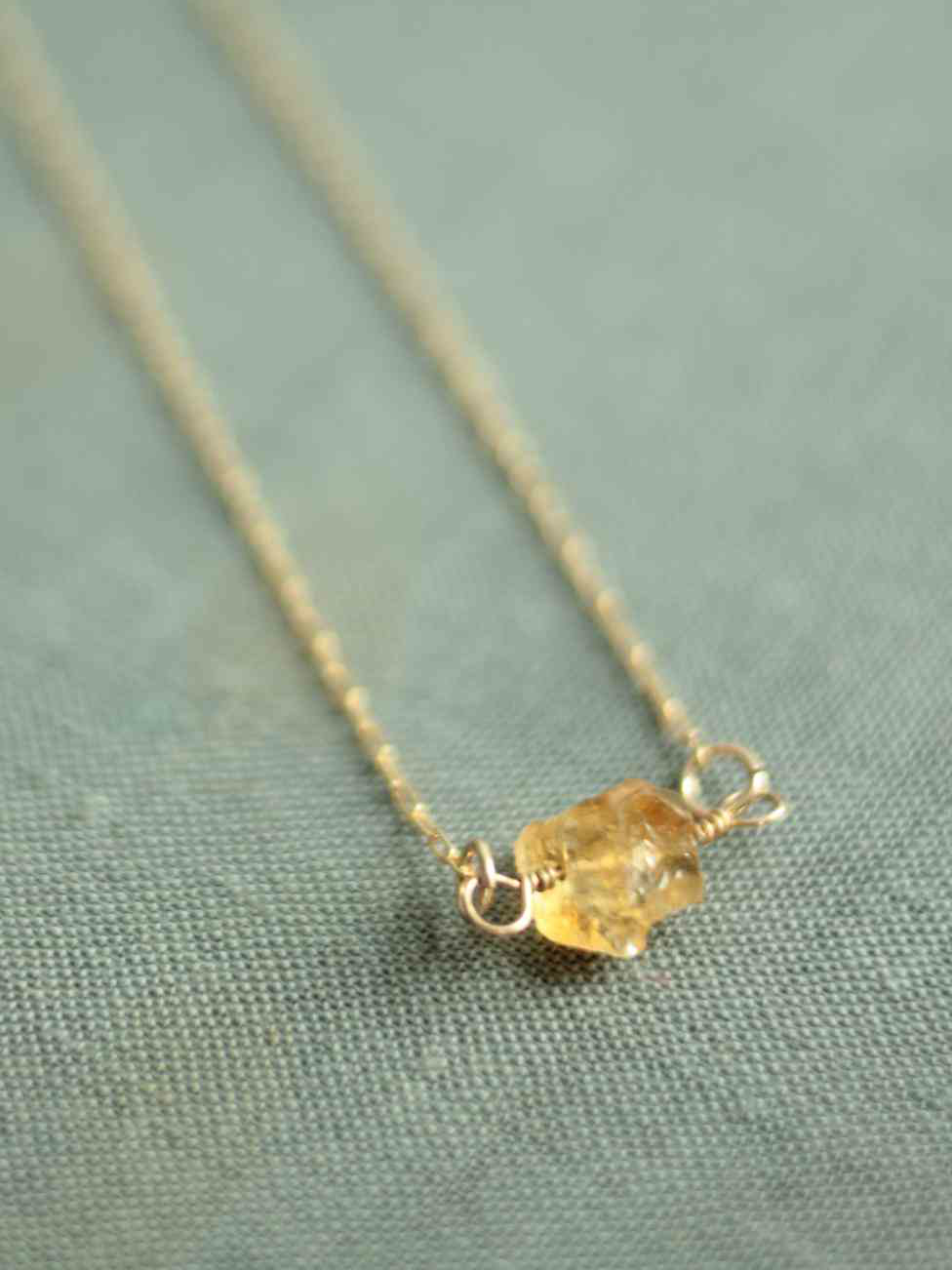 citrine necklace gold filled