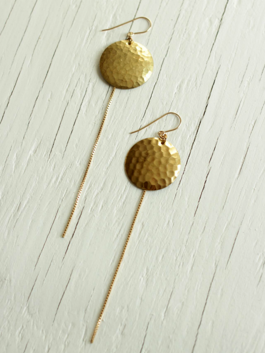 disc earrings brass gold