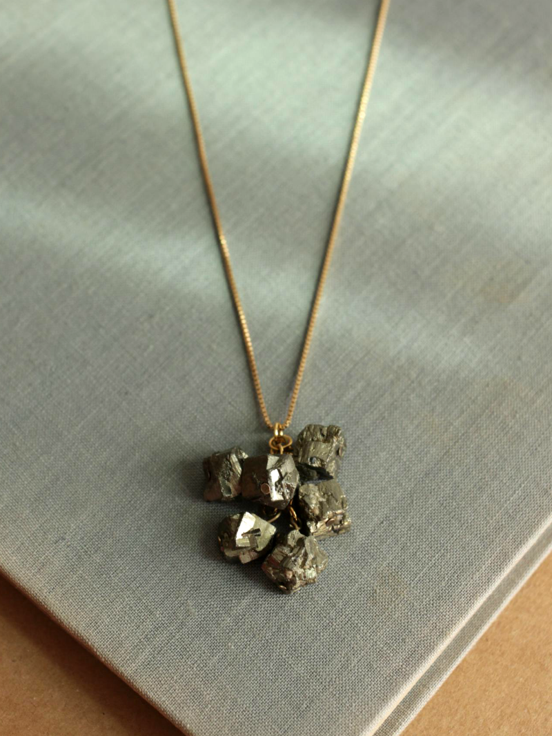 gold pyrite cluster necklace