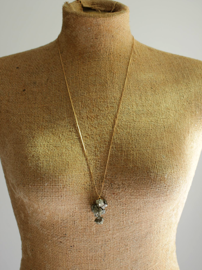 gold pyrite necklace cluster