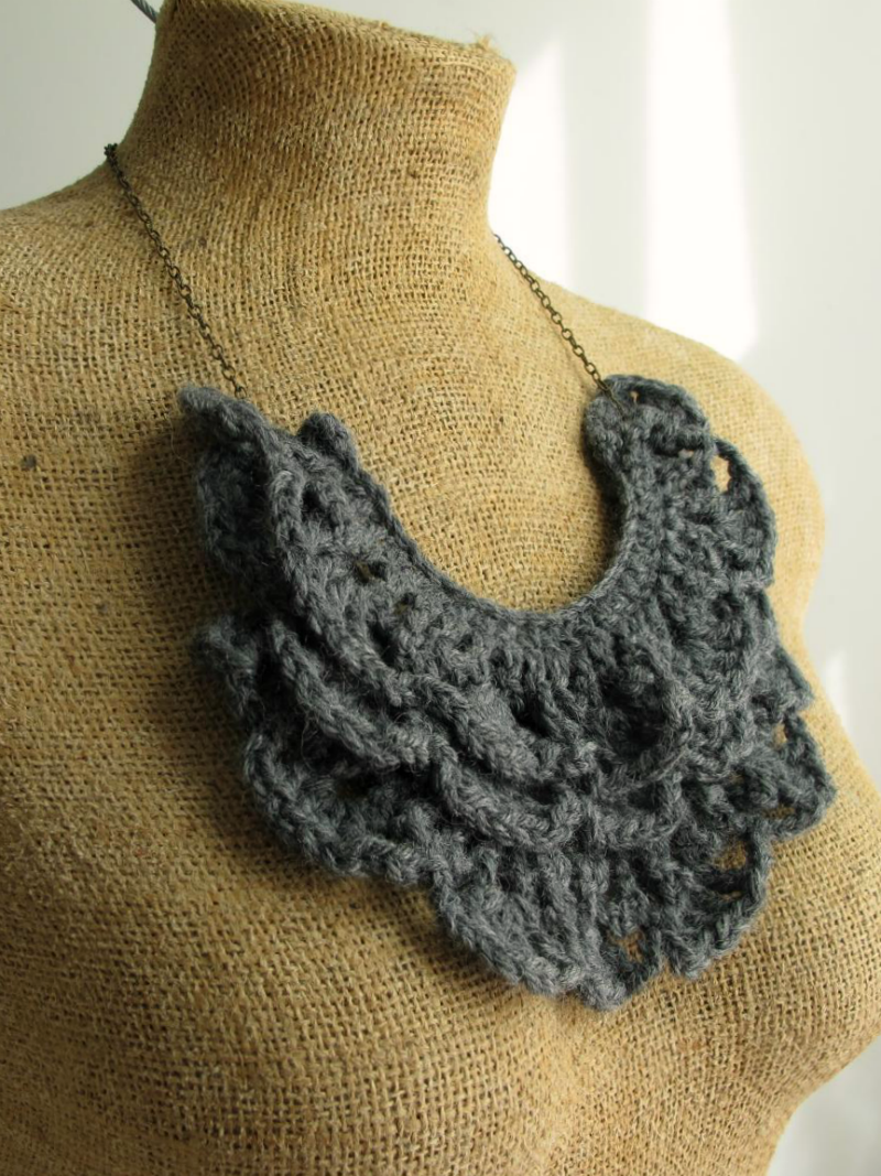 gray crochet bib necklace