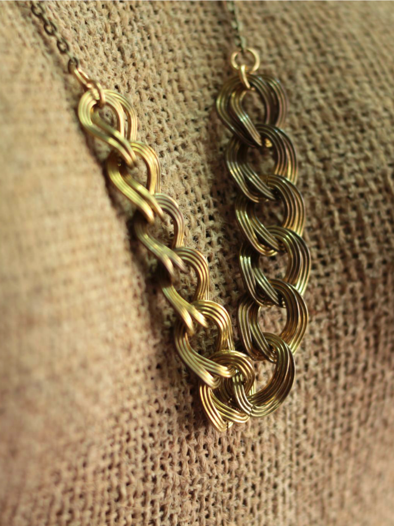 japenese vintage brass necklace