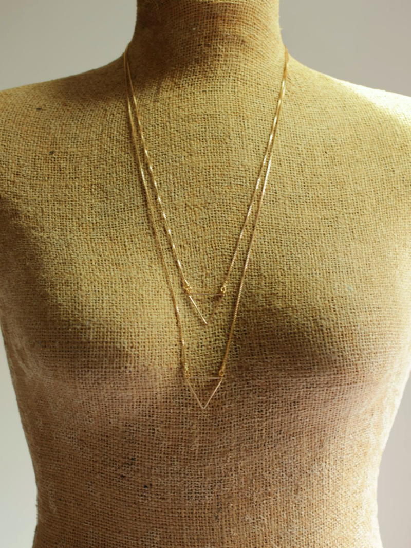 layered necklace triangle
