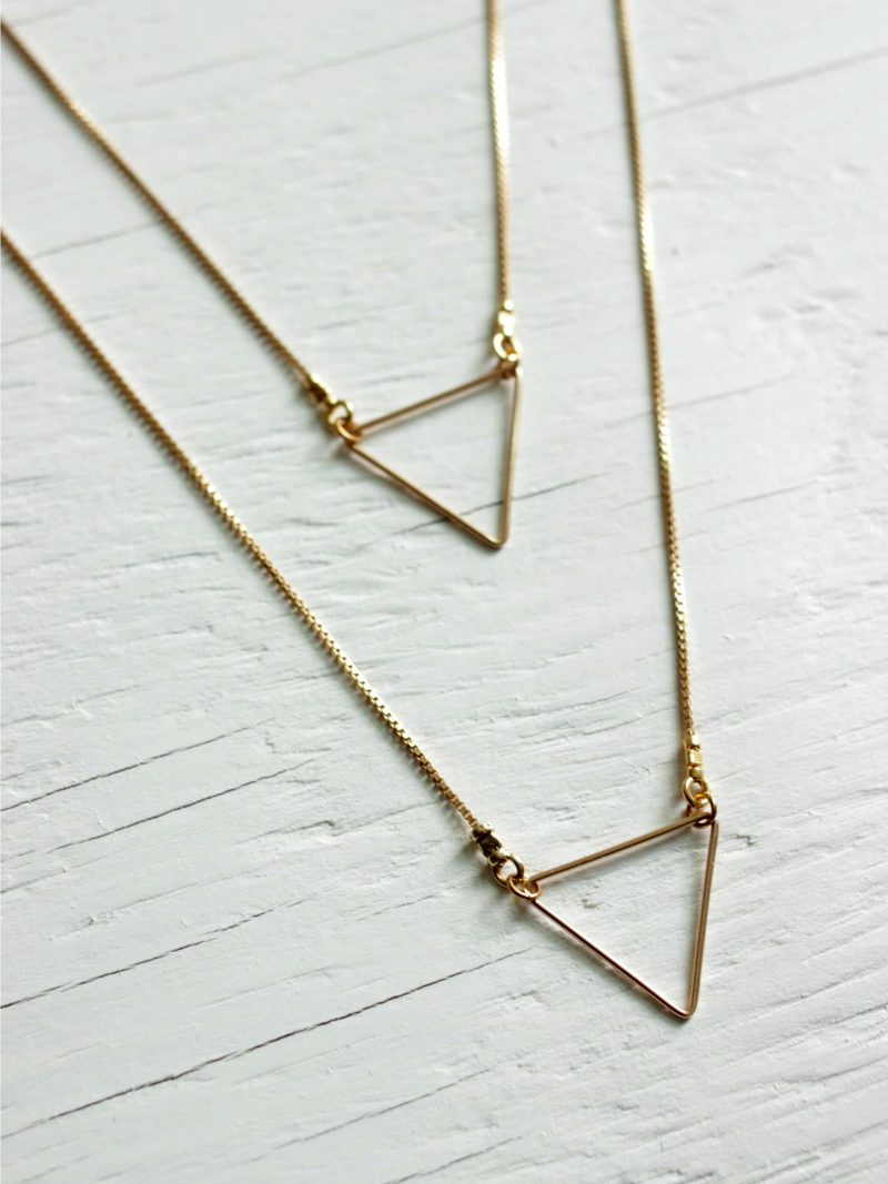 multi chain triangle necklace