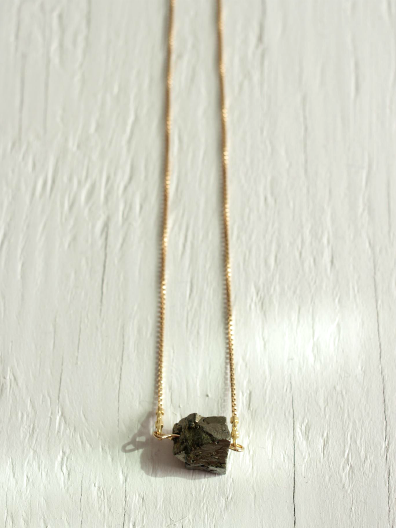 pyrite chunk necklace