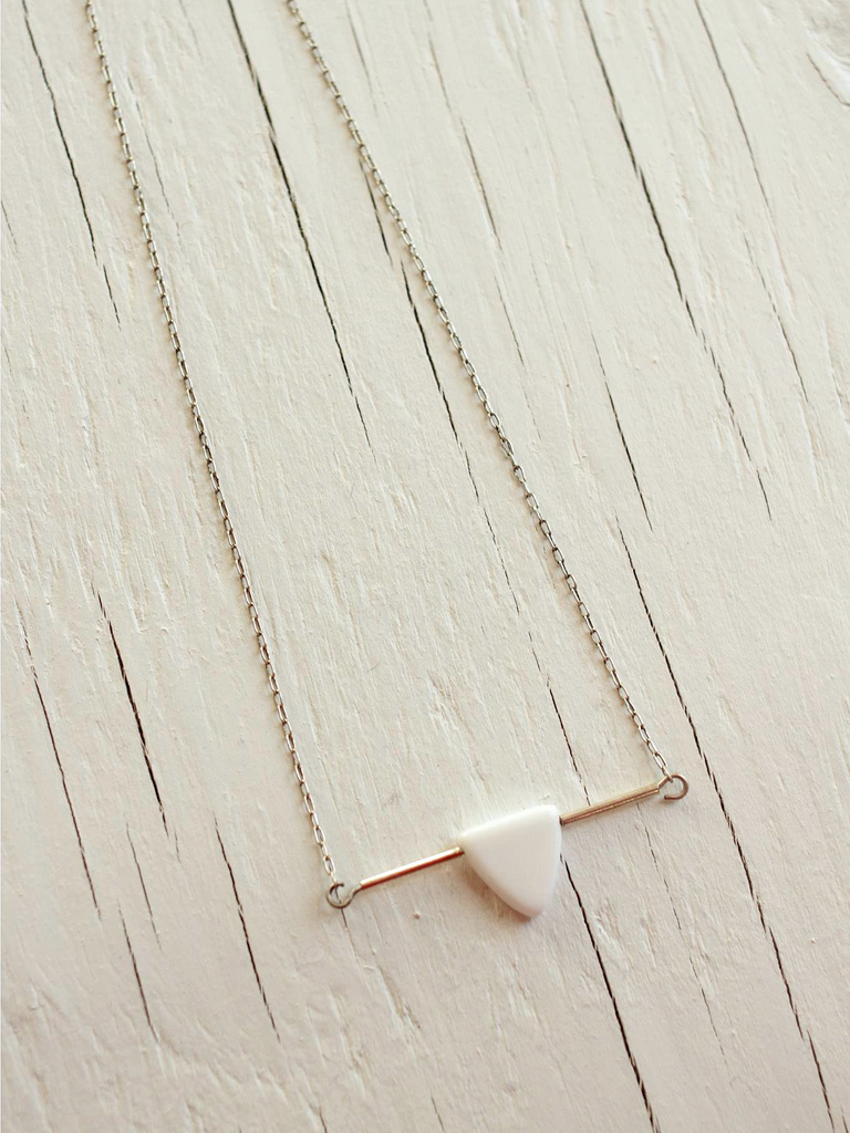 sterling silver bar necklace with white arrow