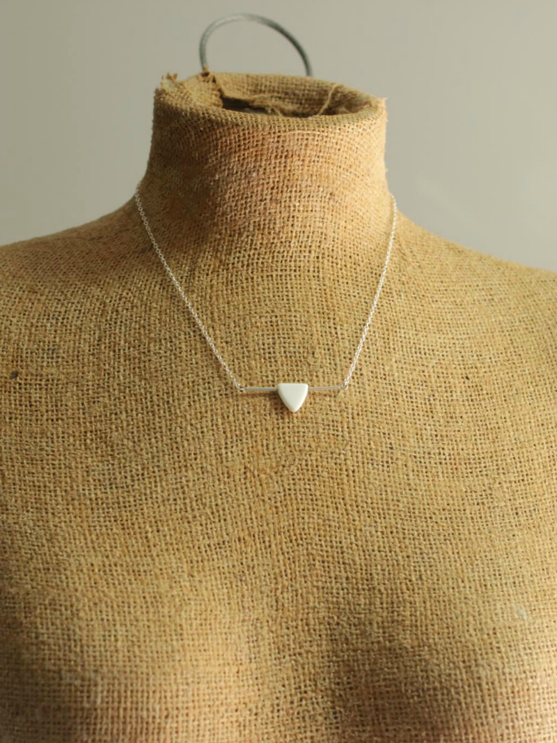 sterling silver white triangle necklace
