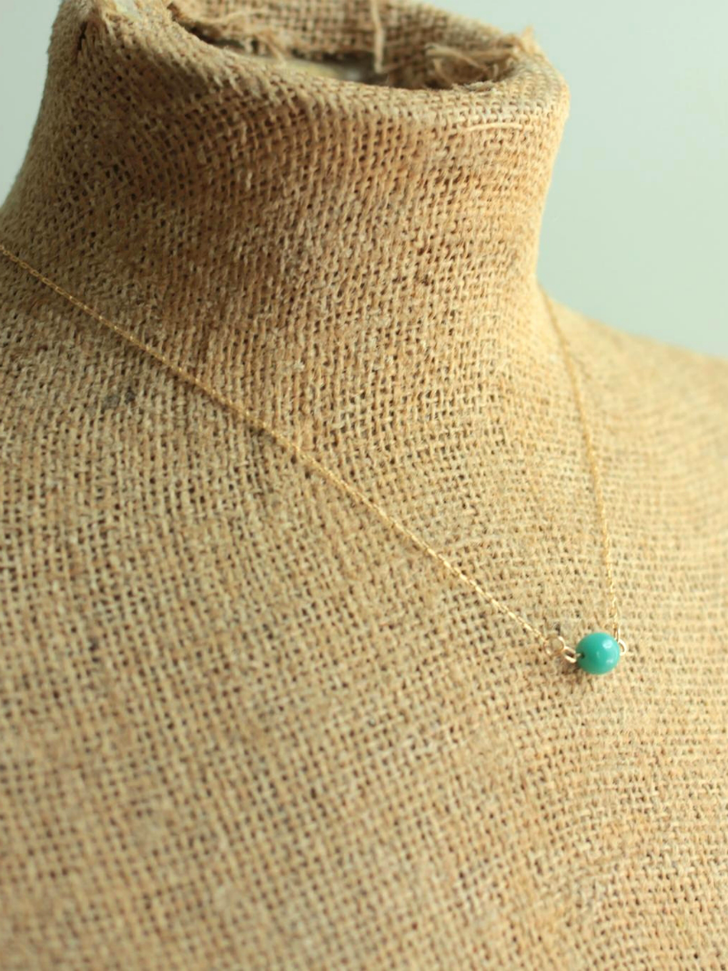 turquoise glass bead on 14kt gold fill necklace