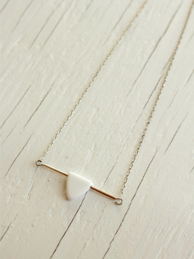 white arrow sterling silver necklace