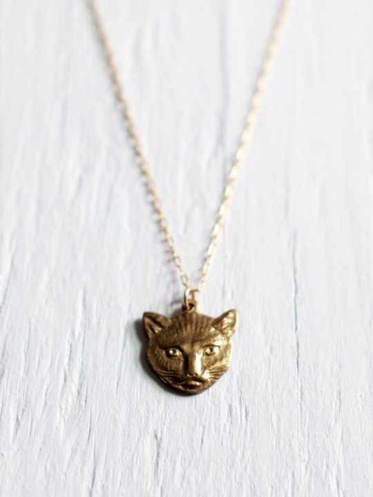 Gold Cat Face Necklace