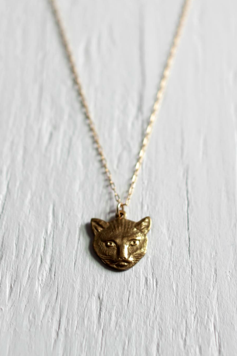 14kt gold filled cat necklce