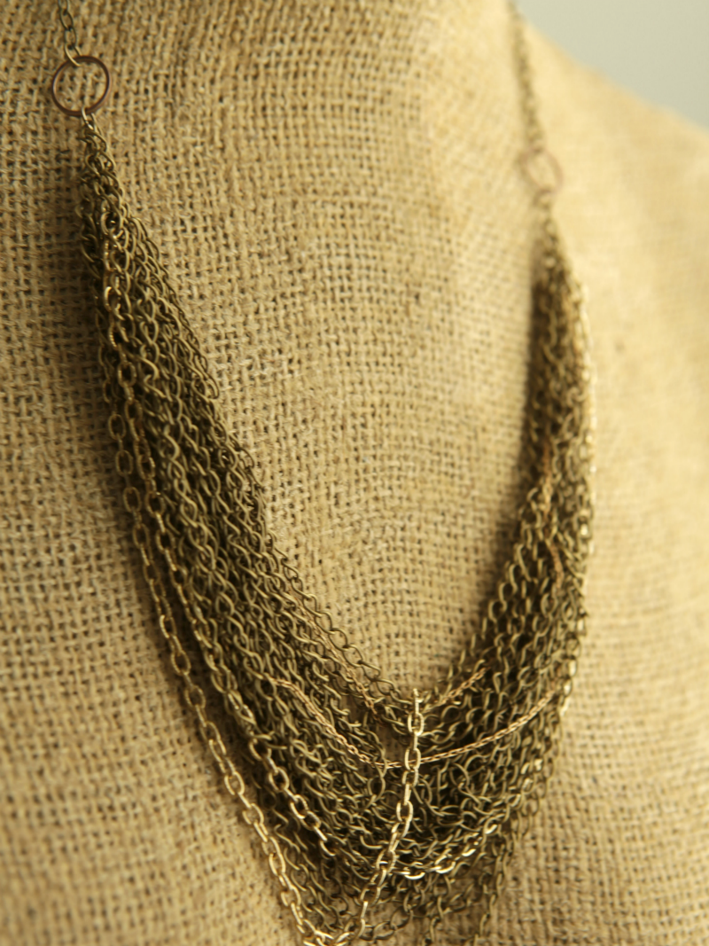 brass multi chain necklace