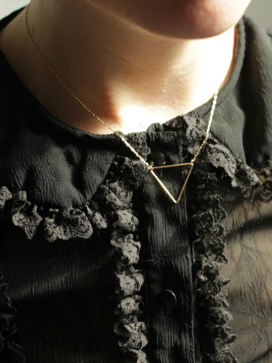 short triangle gold necklace