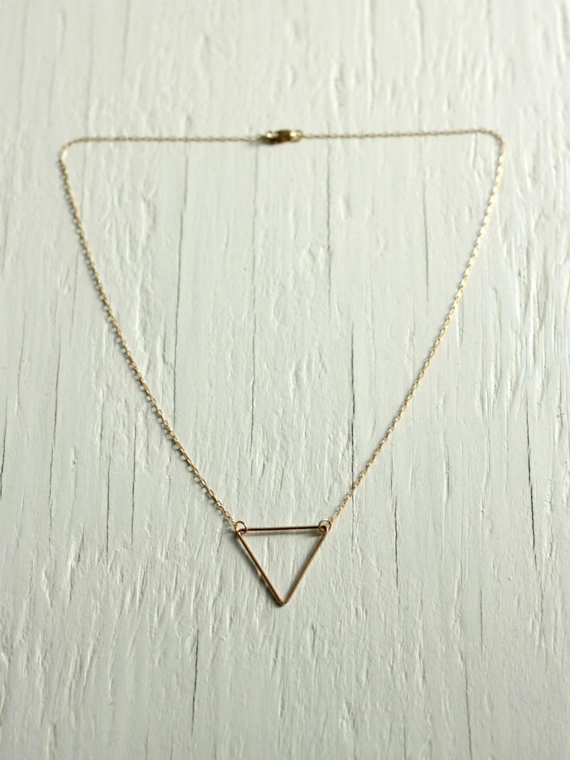 triangle necklace gold filled