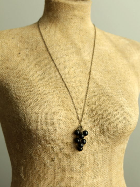 black bead necklace