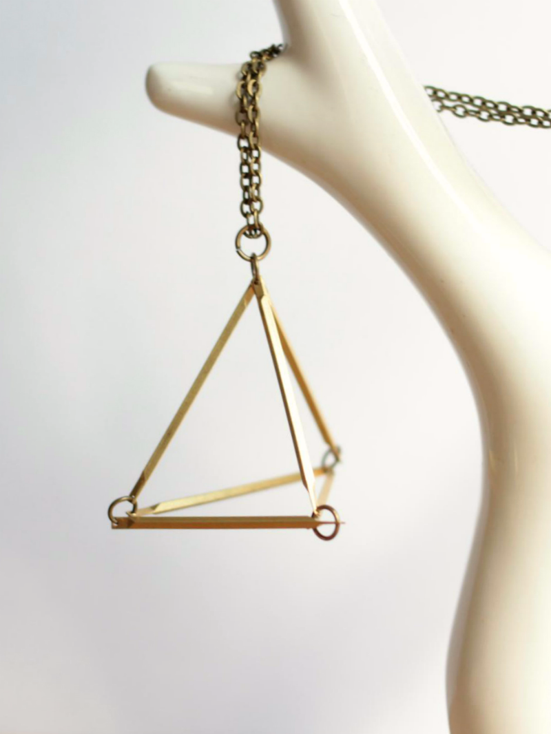 brass triangle necklace 3d