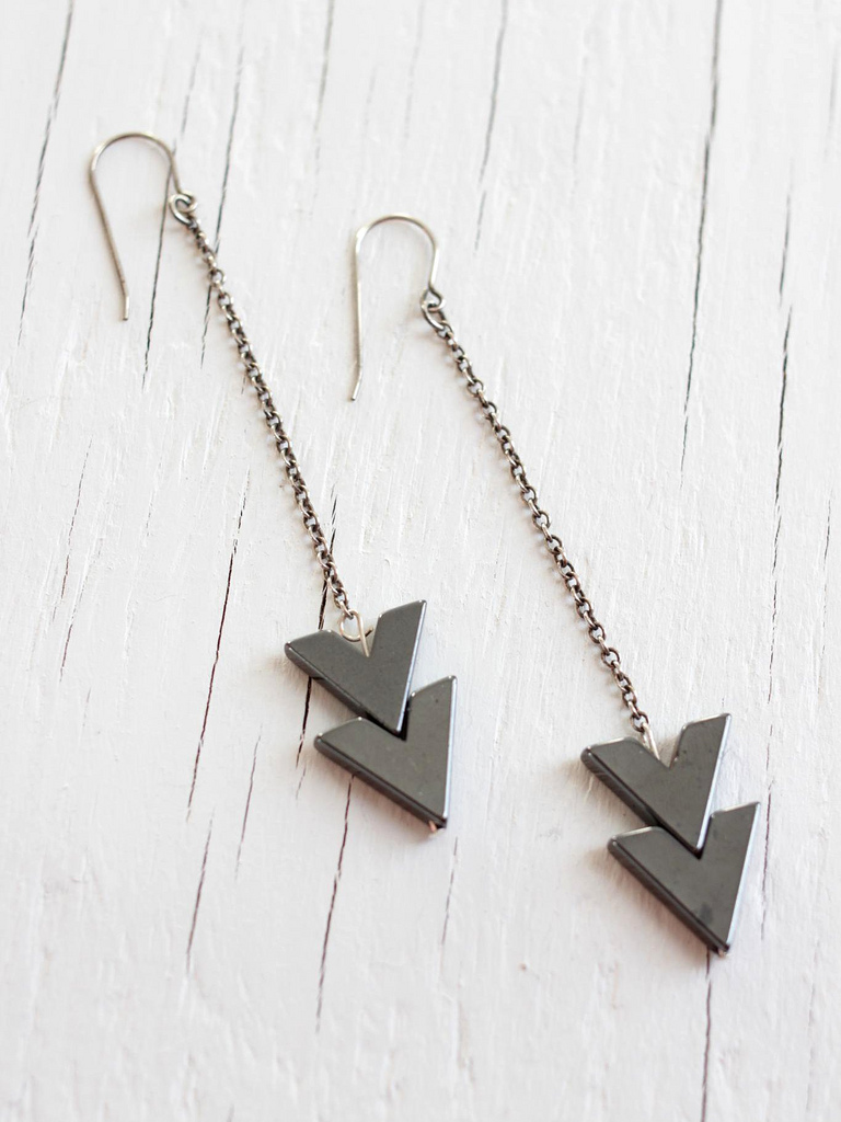 chevron arrow sterling silver earrings