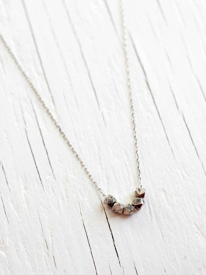 faceted sterling silver necklace
