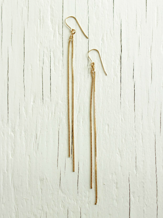 gold chain earrings 14kt gold filled
