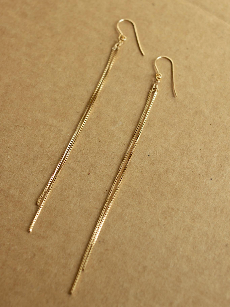 Super Long Gold Chain Earrings