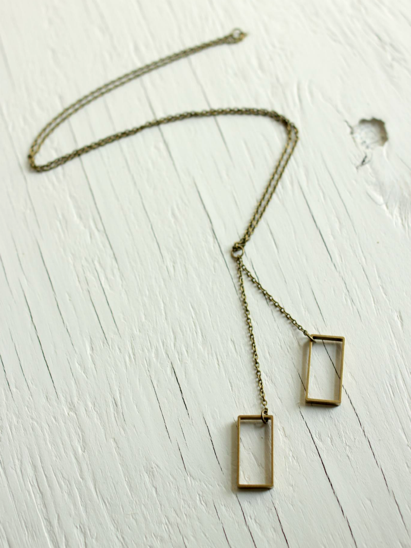 long rectangle brass necklace