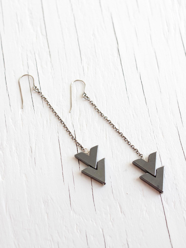 long sterling silver arrow earrings