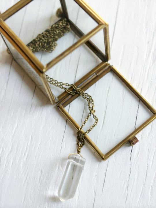 Crystal Quartz Necklace on brass chain