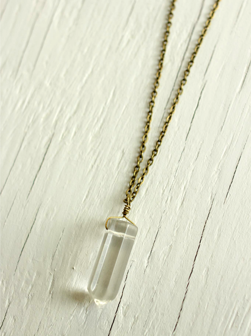 quartz point long necklace