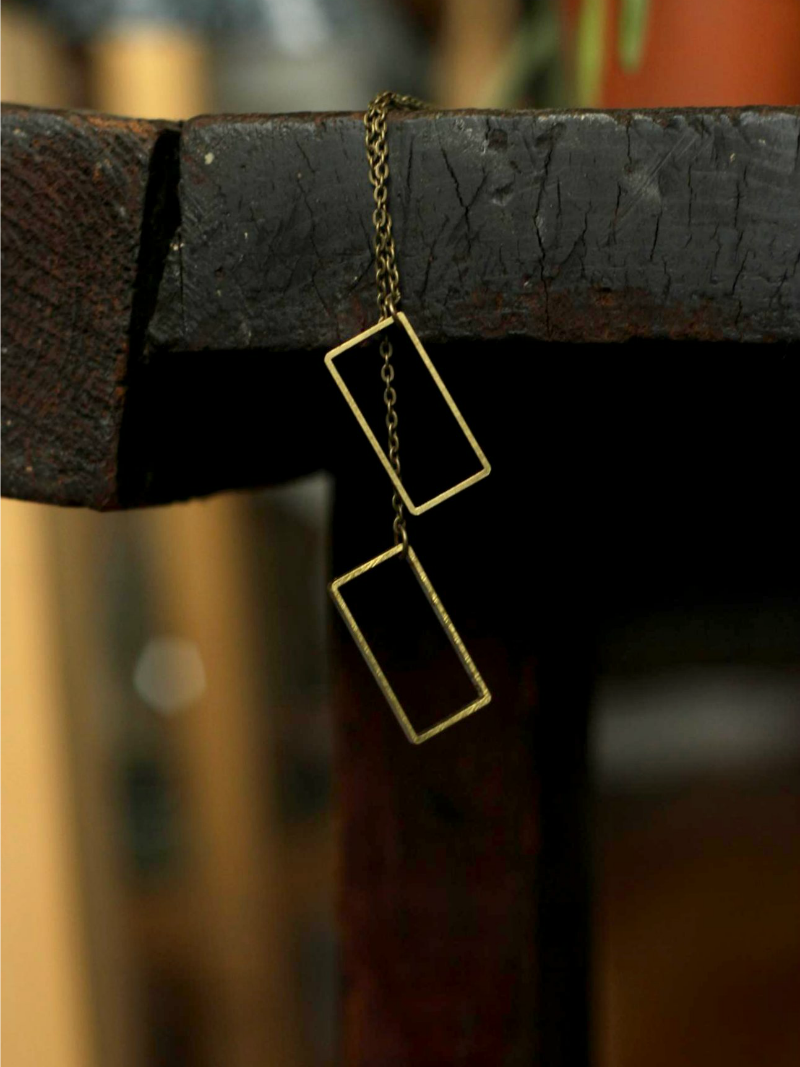 rectangle necklace in brass