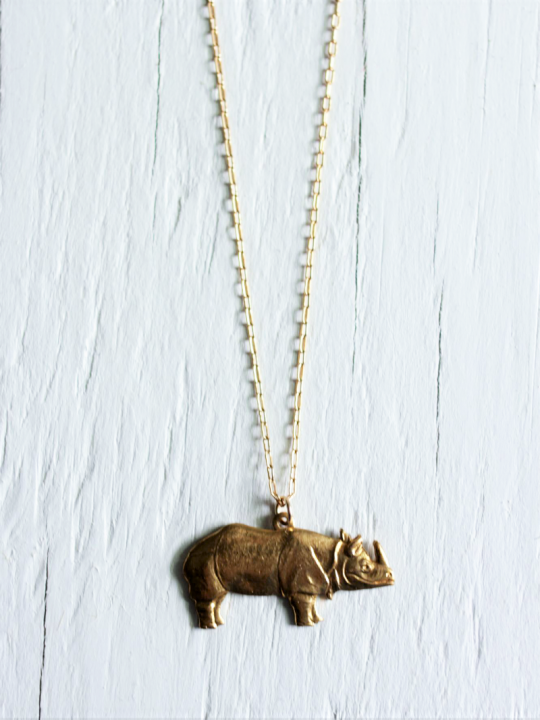 Gold Rhino Necklace on a gold chain