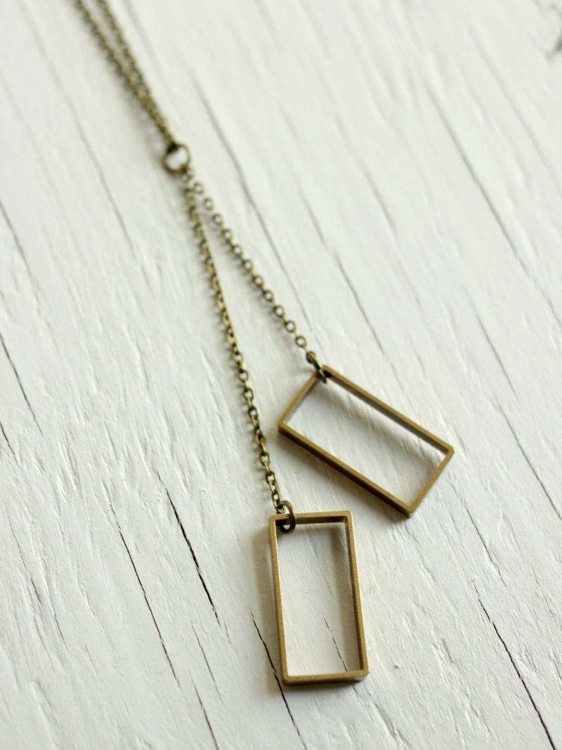 square brass necklace
