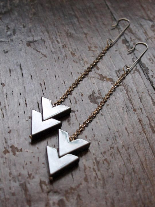 sterling silver arrow drop earrings