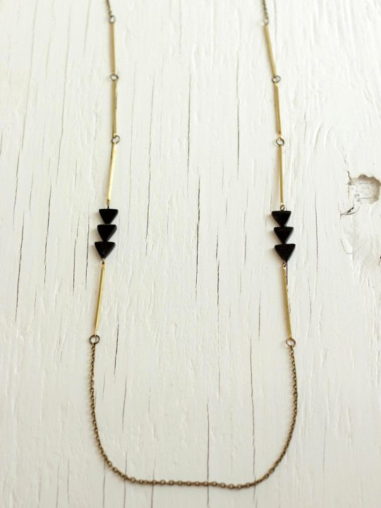 black arrow necklace with brass bars