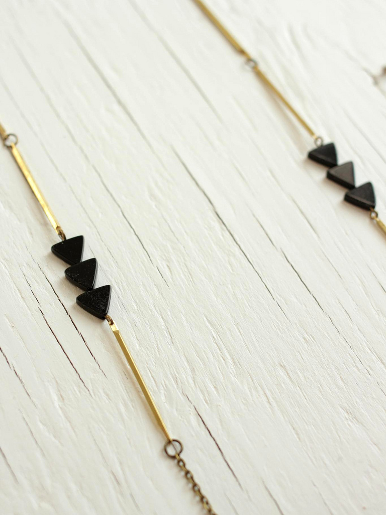 brass and black triangle necklace