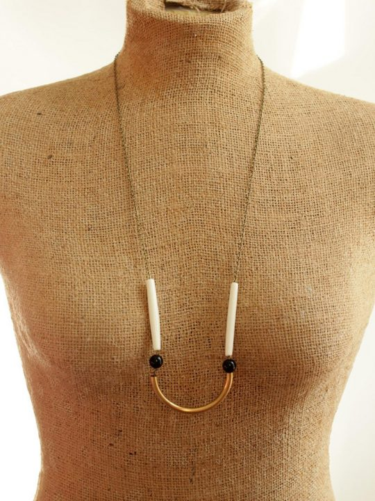 brass bar necklace with black beads