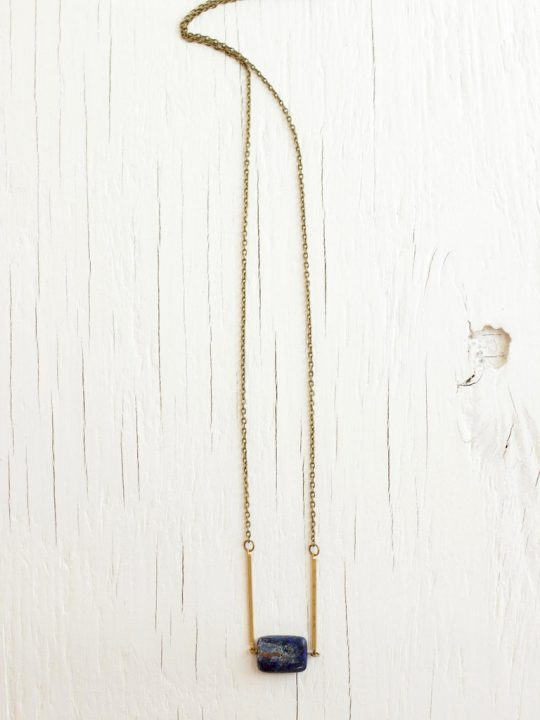 brass bar necklace with blue stone