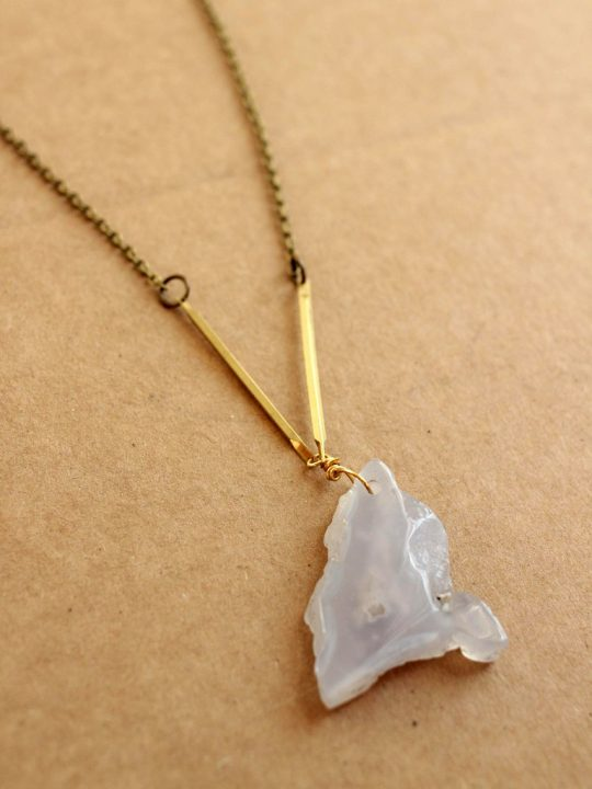 brass bar necklace with lace agate