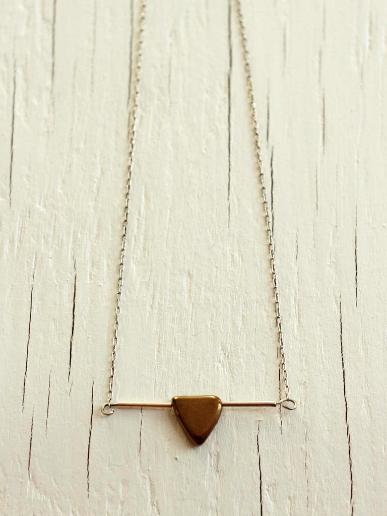 minimal sterling silver bar necklace with triangle