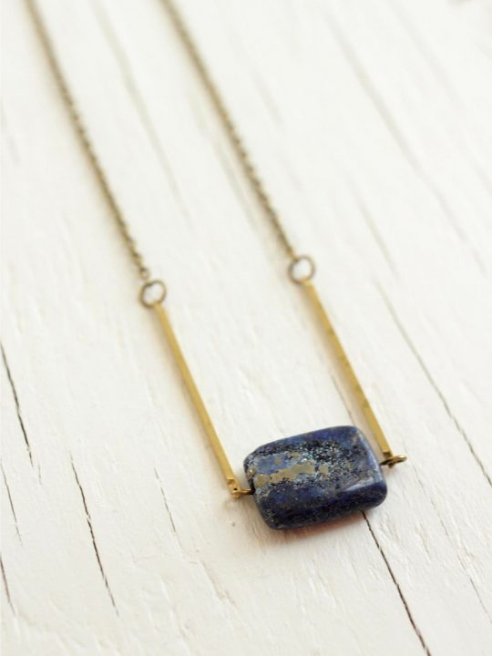 rectangle stone necklace with brass bars