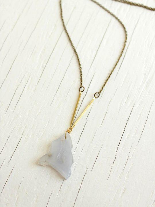 semi precious stone necklace with brass bars