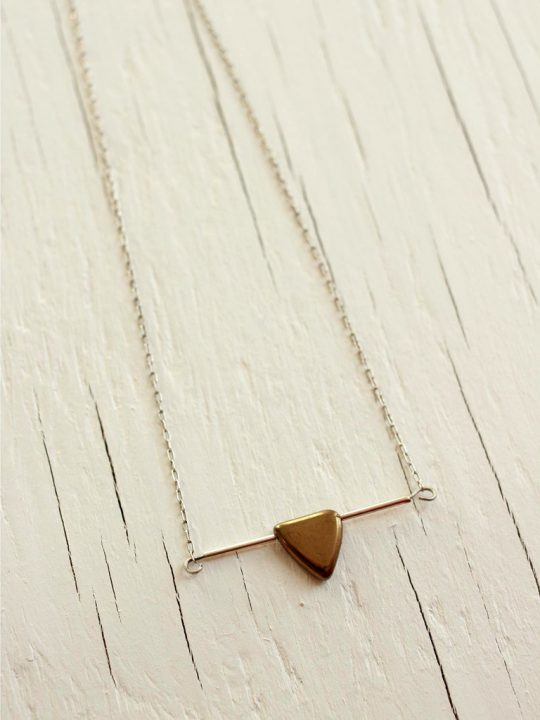 short sterling silver metallic triangle necklace