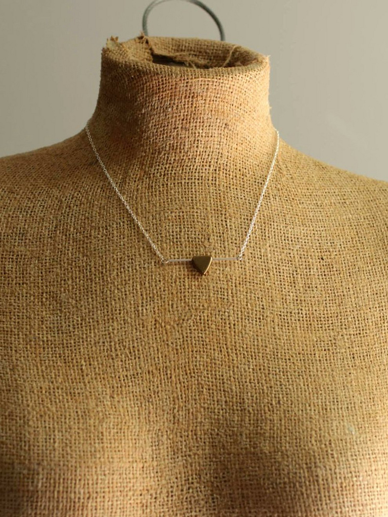 sterling silver copper triangle necklace