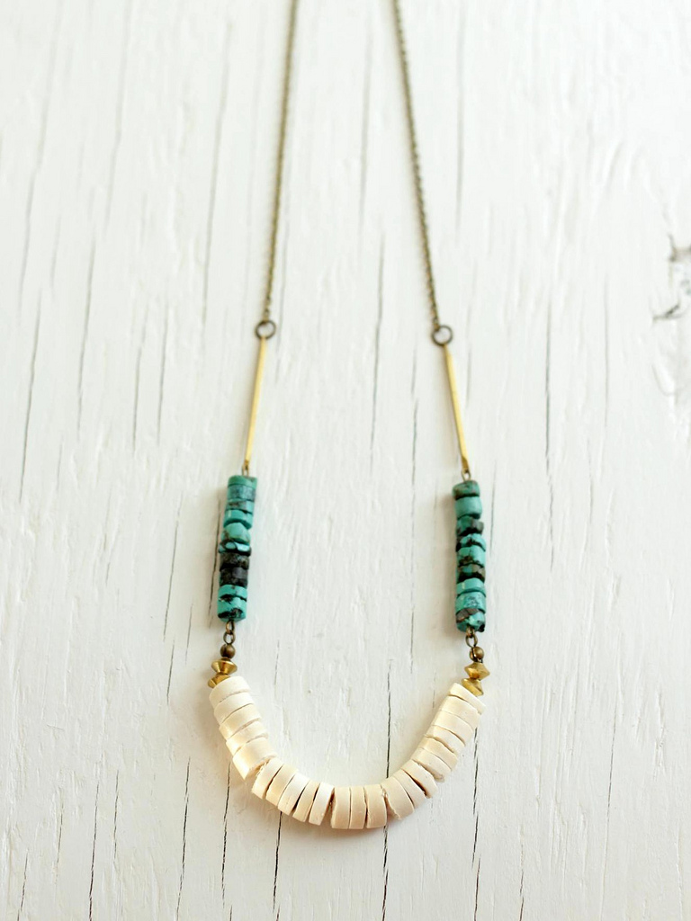 turquoise heishi necklace with brass bars