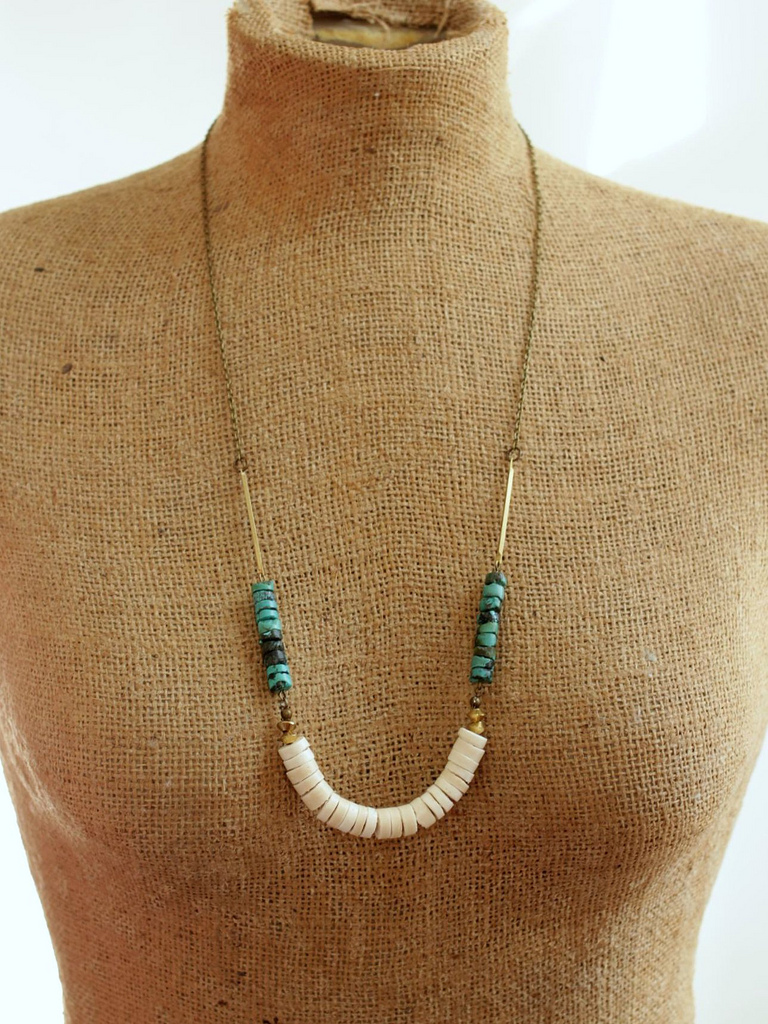 white heishi and brass necklace
