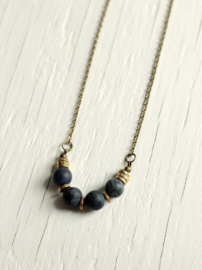 blue sandstone matte necklace